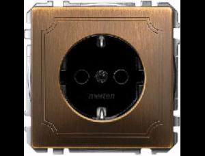MTN2000-4143 SD Античная латунь Розетка 1-ая б/з с защитными шторками винт.зажим