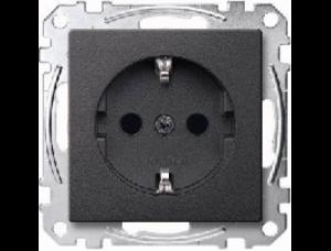MTN2300-0414 SM Антрацит Розетка 1-ая с/з с защитными шторками безвинт зажим