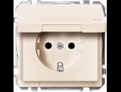 MTN2310-4044 SD Беж Розетка 1-ая с/з с крышкой и защитными шторками (термопласт) безвинт зажим