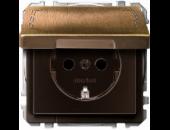 MTN2310-4143 SD Античная латунь Розетка 1-ая с/з с защитными шторками с крышкой безвинт зажим