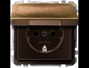 MTN2311-4143 SD Античная латунь Розетка 1-ая с/з с крышкой безвинт зажим