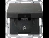MTN2314-0414 SM Антрацит Розетка 1-ая с/з с защитными шторками с крышкой,с упл.кольц,IP44,безвинт зажим