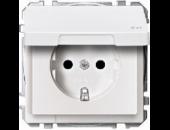 MTN2314-4019 SD Бел Розетка 1-ая с/з с защитными шторками с крышкой,с упл.кольц,IP44,безвинт зажим