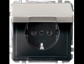 MTN2314-4146 SD Сталь Розетка 1-ая с/з с защитными шторками с крышкой,с упл.кольц,IP44,безвинт зажим