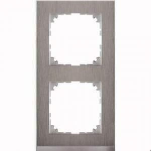 MTN4020-3646 M-Pure Decor 2-постовая рамка, нерж.сталь/цвет алюминия