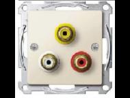 MTN4351-0344 Мех аудио/видео розетки с тремя гнездами (желт, красн, бел)