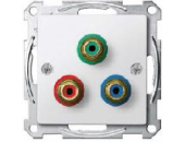 MTN4353-0319 SM Бел глянц Розетка компонентного видеосигнала с тремя гнездами тюльпан
