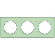 S53P806S Рамка 3  пост зелен лед алюм ODACE