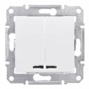SDN0300321 Выкл. 2кл. cx.5 с синей.подсв., бел.