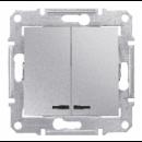 SDN0300360 Выкл. 2кл. cx.5 с синей.подсв., алюм
