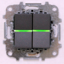 Z2101 ANI NIE Zenit Антрацит Выключатель 2-клавишный с подсветкой 2 мод
