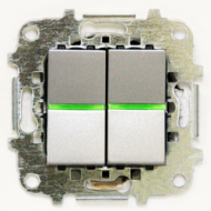 Z2101 PLI NIE Zenit Серебро Выключатель 2-клавишный c индикацией 2 мод