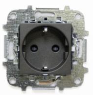 Z2288 AN NIE Zenit Антрацит Розетка с/з с защитными шторками, винт. зажим, 2 мод