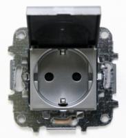 Z2288.1 PL NIE Zenit Серебро Розетка с/з с защитными шторками с крышкой 2 мод