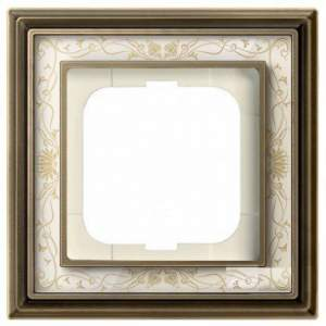 1754-0-4590 (1721-846-500) BJE Династия Античная латунь/Белая роспись Рамка 1-ая