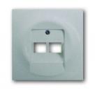 1753-0-0084 (1803-02-783) BJE Impuls Серебро металлик Накладка 2-ой ТЛФ/Комп розетки наклонной (мех214/15/17)