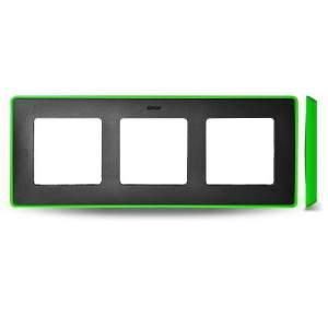 8201630-260 82 Detail Рамка, 3 поста, графит, неоново-зеленое основание