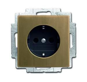 2013-0-5399 (20 EUCBLI-840-500) BJE Династия Античная латунь Розетка 16А 250В, с LED подсветкой