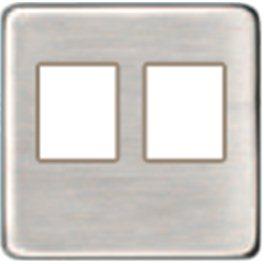 Бежевая Плата монтажная для 2-го инф. разъема RJ-45 (nickel satin) арт. FD04318NS-A