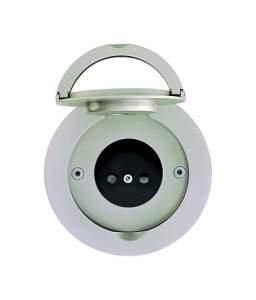 D 100x14 мм 1 напольная розетка с лючком IP 44 круглая Никель шлифованный