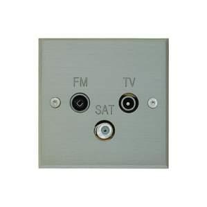80x80 мм 1 TV-FM-SAT Никель шлифованный