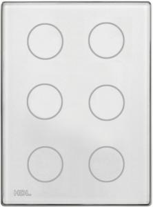 HDL-MPT6.46P 6-клавишная сенсорная Smart панель, LED индикация, австралийский/US стандарт  (в сборе с шинным соединителем HDL-MPPI.46)