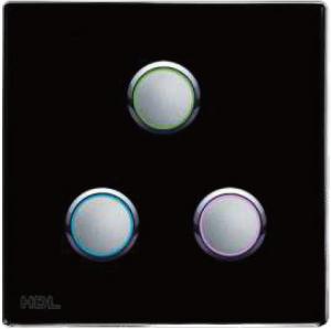 HDL-MP03R.48 3-клавишная кнопочная Smart панель, LED индикация, европейский стандарт (без шинного соединителя HDL-MPPI.48)