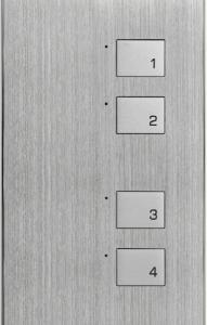 HDL-MP4K.48P 4- клавишная настенная панель KR,  Алюминий с серебристыми клавишами, австралийский/US стандарт (в сборе с шинным соединителем HDL-MPPI(K).48)