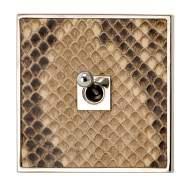 64x64x5 мм 1 выключатель на накладке из кожи питона